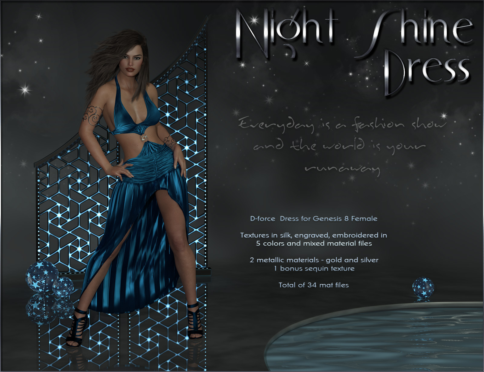 dForce Night Shine Dress for Genesis 8 Females