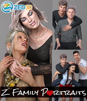 Z Family Portaits - Couple and Triple Poses for Genesis 3 and 8 Male and Female 3D Figure Assets Zeddicuss