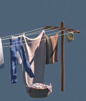 Old Windblown Clothesline  3D Models forester