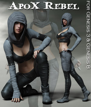 ApoX - Rebel for the Genesis 3 and Genesis 8 Females 3D Figure Assets Rhiannon