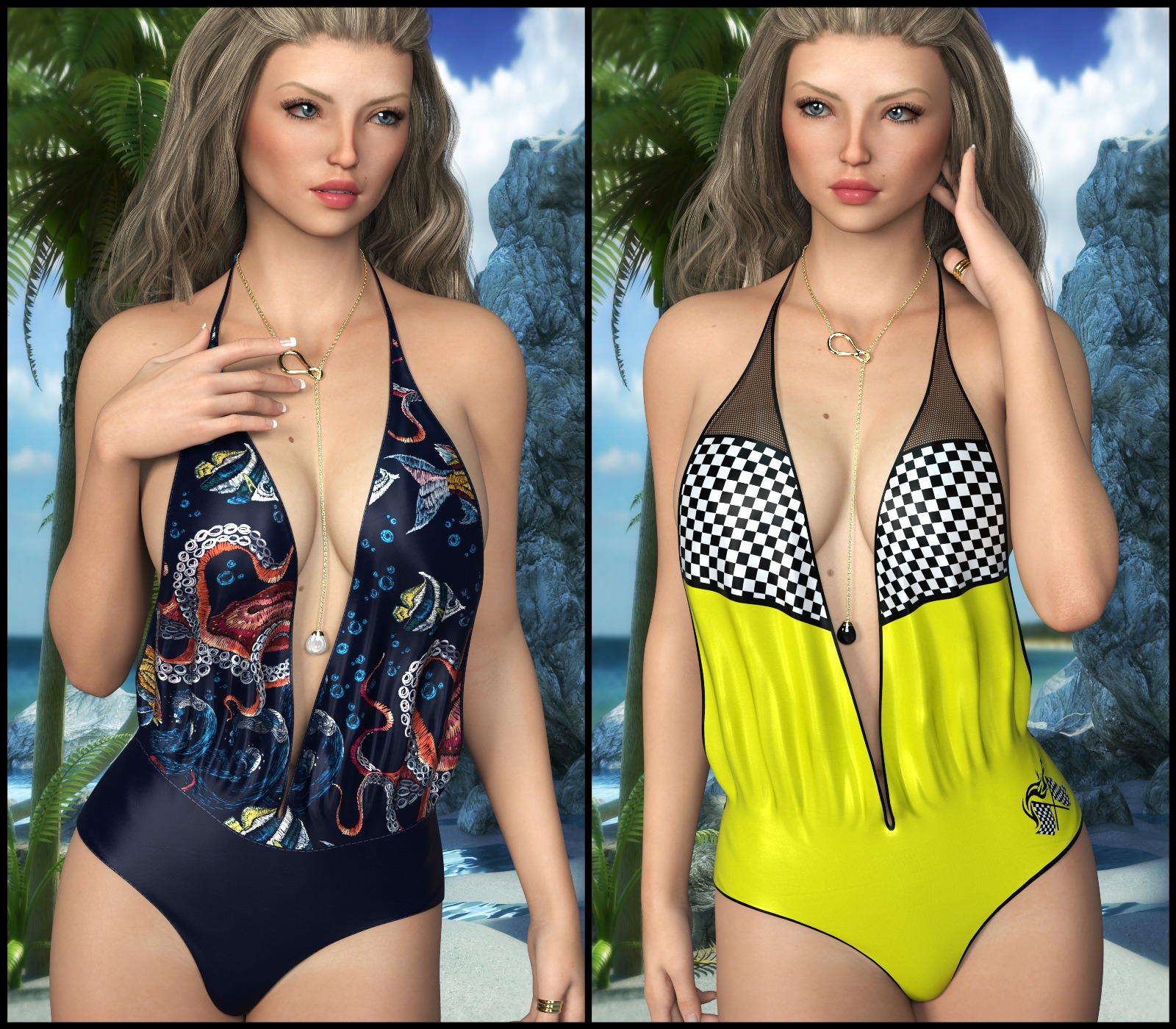 Sirens: dforce Poolside Swimwear for Genesis 8 Females
