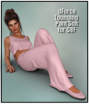 dForce - Lounging Pant Suit for G8F 3D Figure Assets Lully