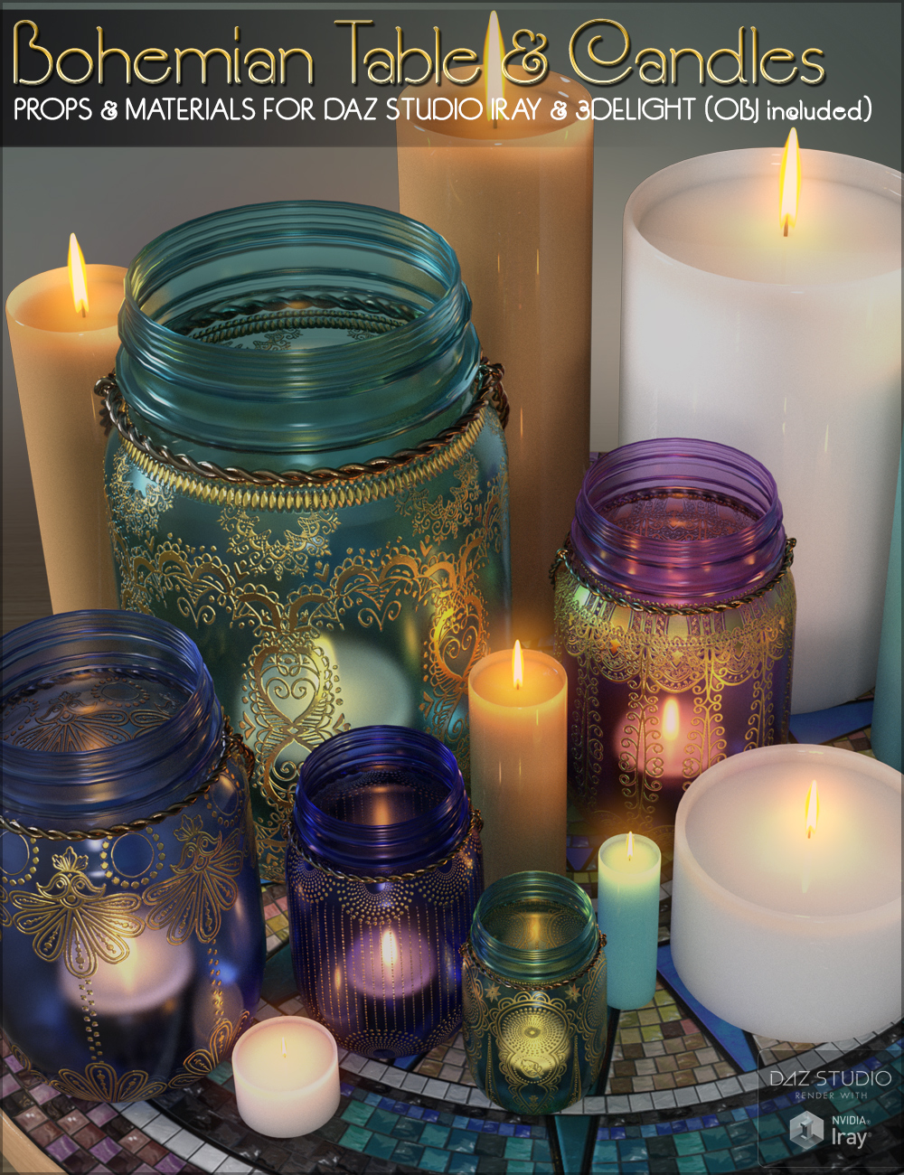 SVs Bohemian Table and Candles Daz Studio