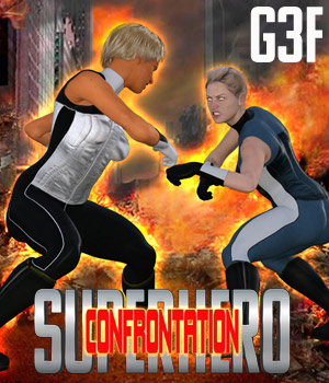SuperHero Confrontation for G3F Volume 1 3D Figure Assets GriffinFX