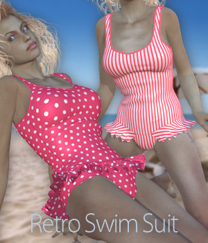 Retro Swim Suit for V4 and Poser 3D Figure Assets Tipol