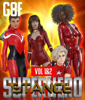 SuperHero Stance for G8F Volume 1 & 2 3D Figure Assets GriffinFX