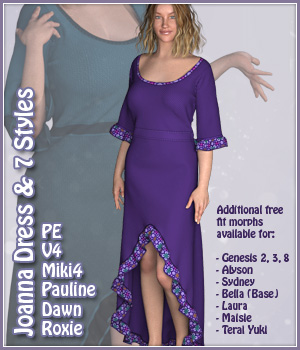 Joanna Dress and 7 Styles for PE, V4, Miki 4, Dawn, Pauline and Roxie 3D Figure Assets karanta