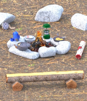 Campfire Ring Breakfast  3D Models forester