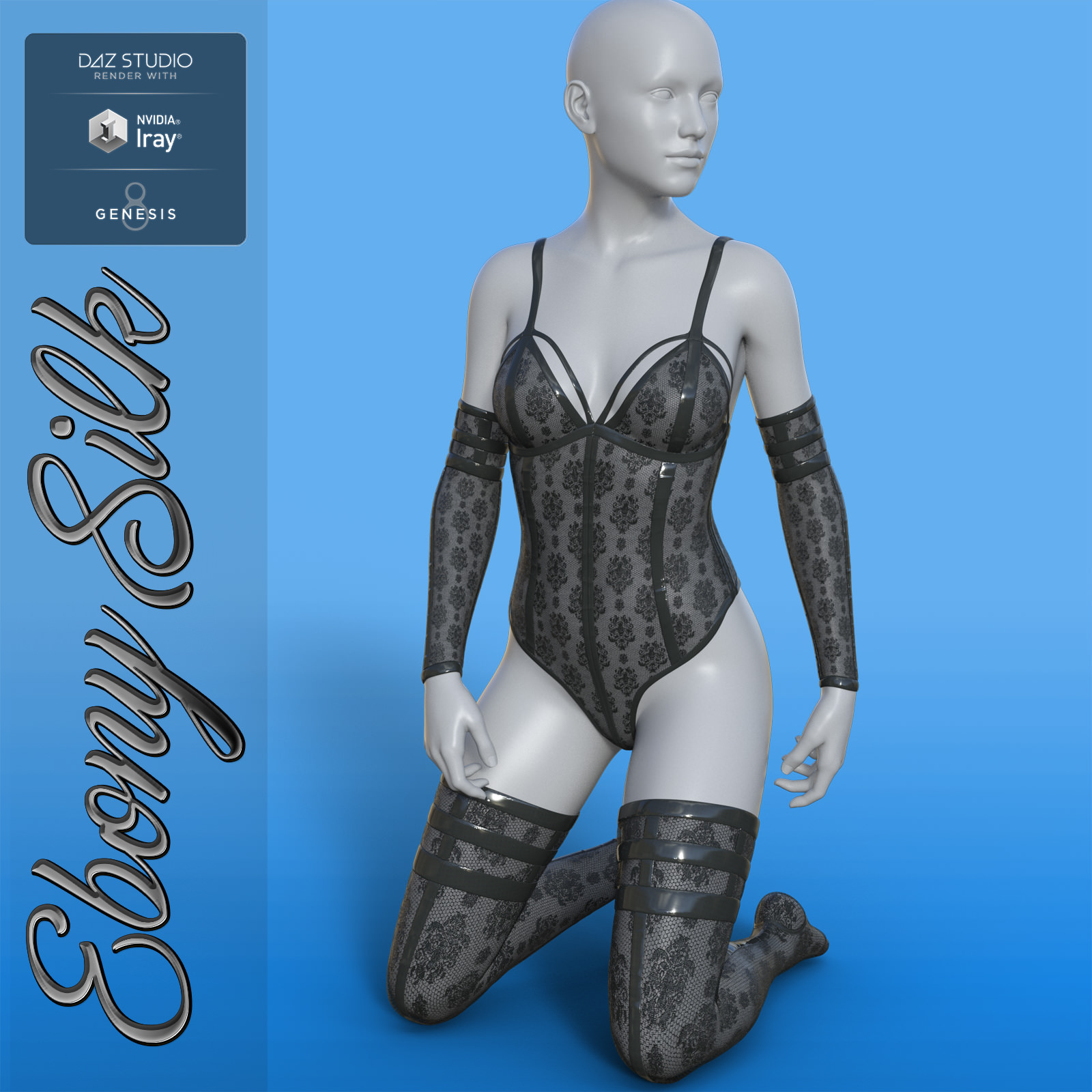 Ebony Silk Outfit for G8F