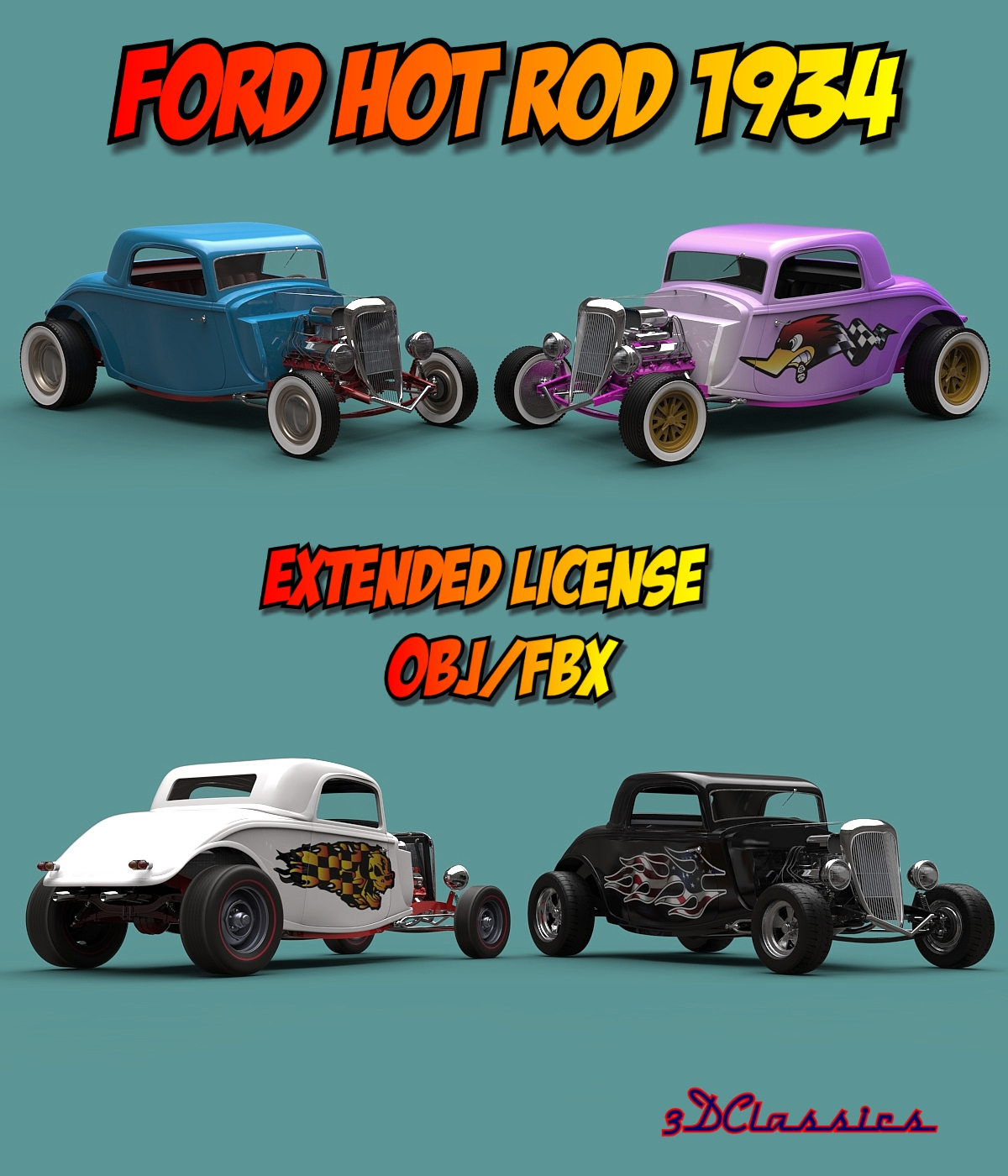 FORD HOT ROD 1934 OBJ FBX EXTENDED LICENSE by 3DClassics