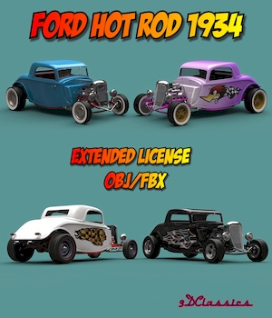 FORD HOT ROD 1934 OBJ FBX EXTENDED LICENSE 3D Game Models : OBJ : FBX 3D Models Extended Licenses 3DClassics