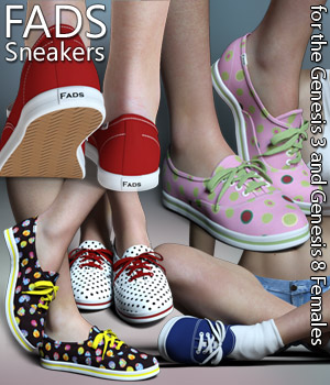 RP Fads Sneakers for Genesis 3 and Genesis 8 Females 3D Figure Assets RPublishing