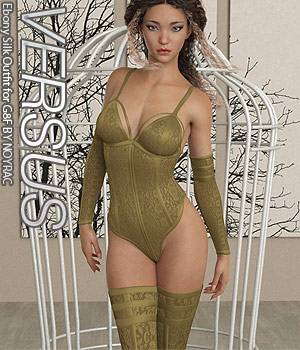 VERSUS - Ebony Silk Outfit for G8F 3D Figure Assets Anagord