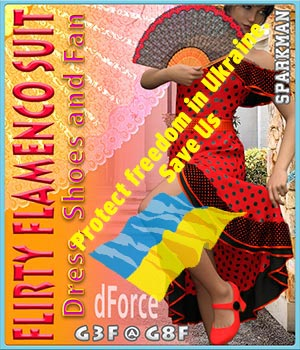 dForce Flirty Flamenco Suit for Genesis 8 and Genesis 3 Female 3D Figure Assets sparkman
