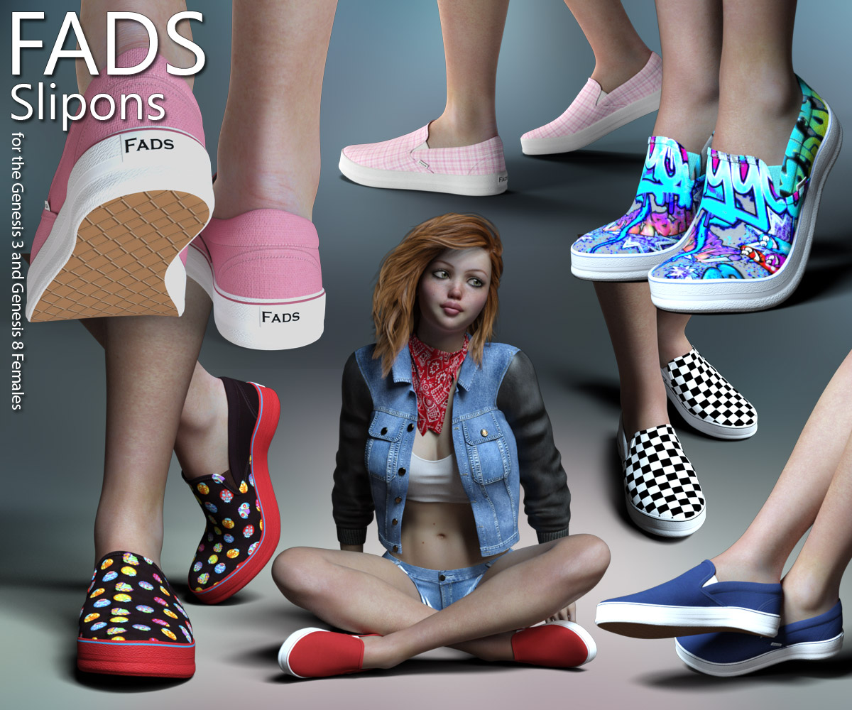RP Fads Slip Ons for Genesis 3 and Genesis 8 Females by RPublishing