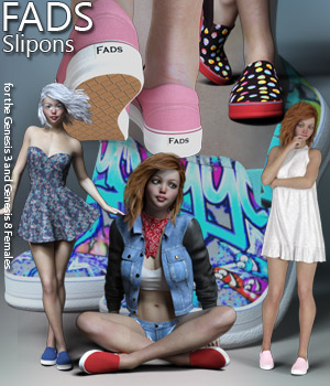 RP Fads Slip Ons for Genesis 3 and Genesis 8 Females 3D Figure Assets RPublishing