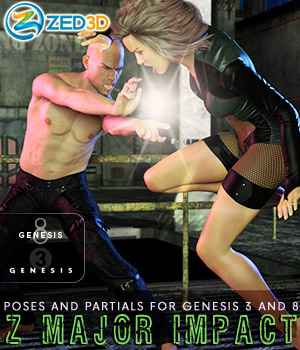 Z Major Impact - Poses for Genesis 3 and 8 Male and Female 3D Figure Assets Zeddicuss
