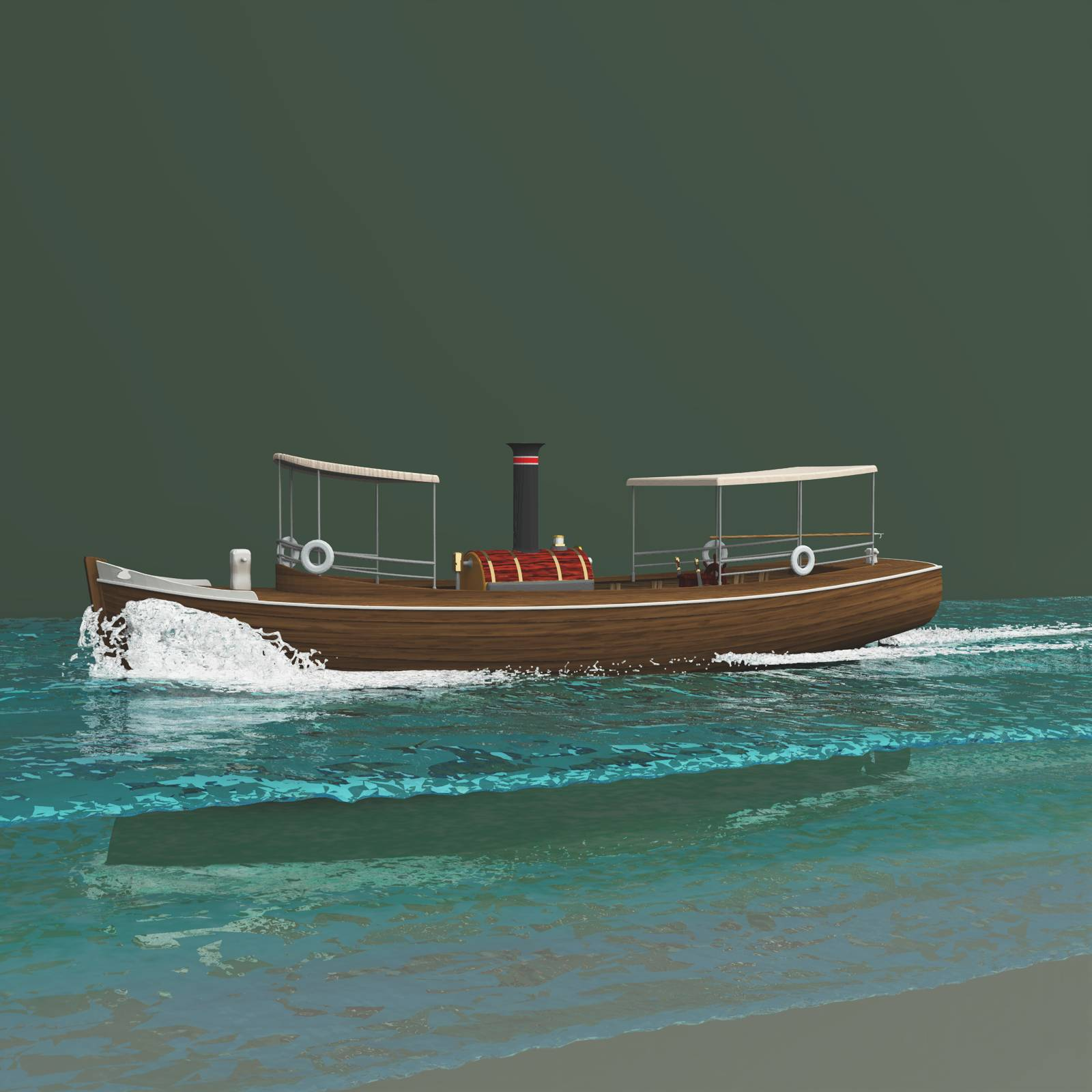 River Queen With Bow Wave And Stern Wake For Vue
