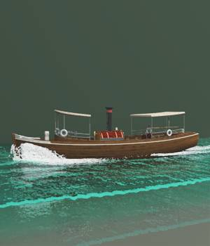 River Queen With Bow Wave And Stern Wake For Vue 3D Models forester