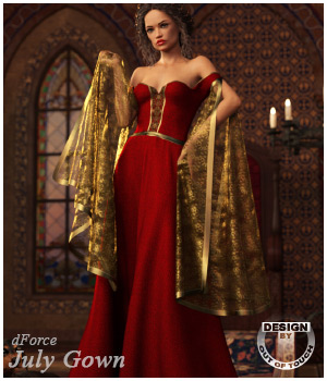 dForce July Gown for Genesis 8 Females by outoftouch