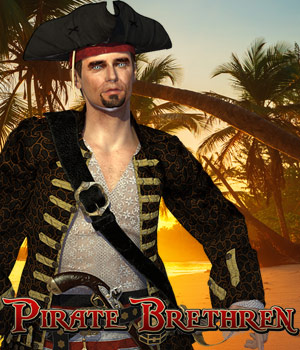 Pirate Brethren for Pirate Captain John Pigeon 3D Figure Assets Cybertenko