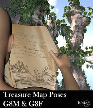 Treasure Map Poses G8F & G8M 3D Figure Assets biala