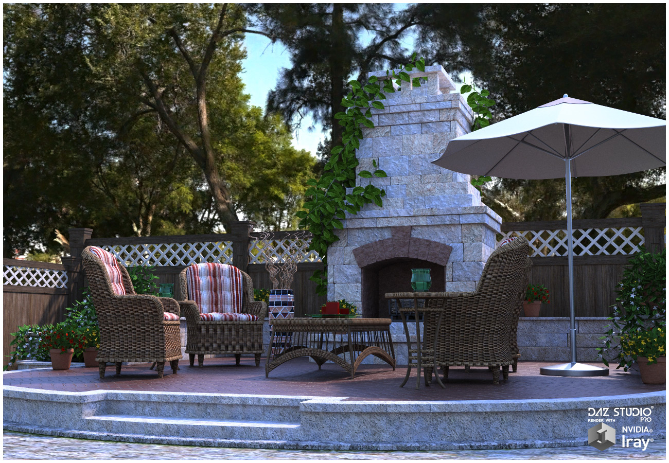 Garden Fireplace for Poser and DS by RPublishing