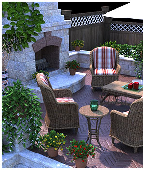 Garden Fireplace for Poser and DS 3D Models RPublishing