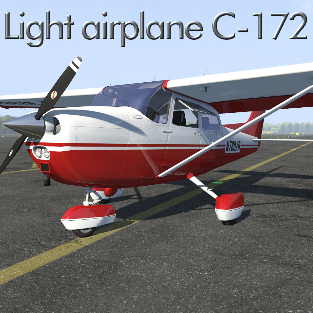 Light airplane C-172 for Poser