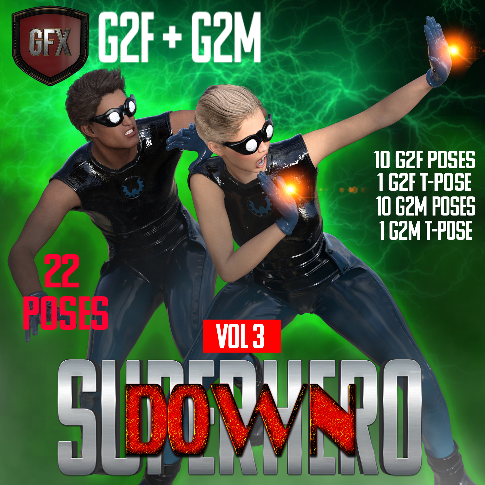 SuperHero Down for G2F and G2M Volume 3