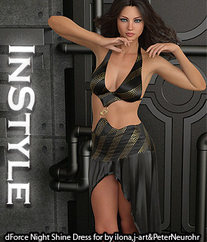 InStyle - dForce Night Shine Dress for Genesis 8 Females 3D Figure Assets -Valkyrie-
