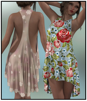 dForce-T-Bar Dress for G8F 3D Figure Assets Lully