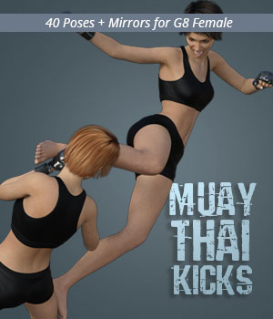 MUAY THAI KICKS for Genesis 8 Female 3D Figure Assets PainMD