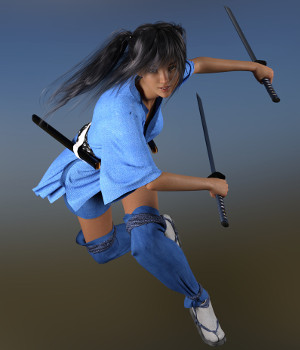 dForce Shinobi Outfit for Genesis 3 and Genesis 8 Female - Extended License 3D Figure Assets Extended Licenses Deacon215