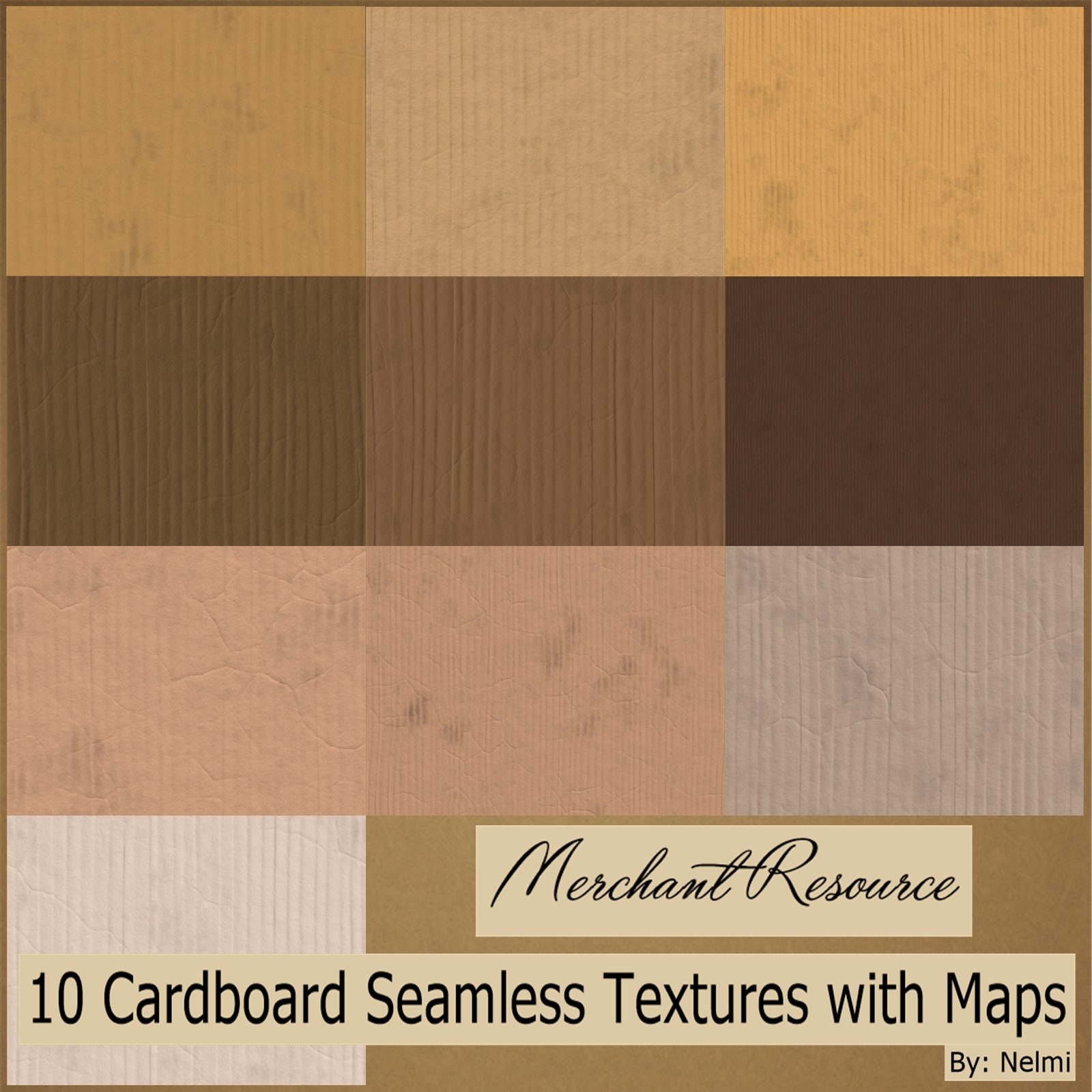 10 Cardboard Textures with maps - MR