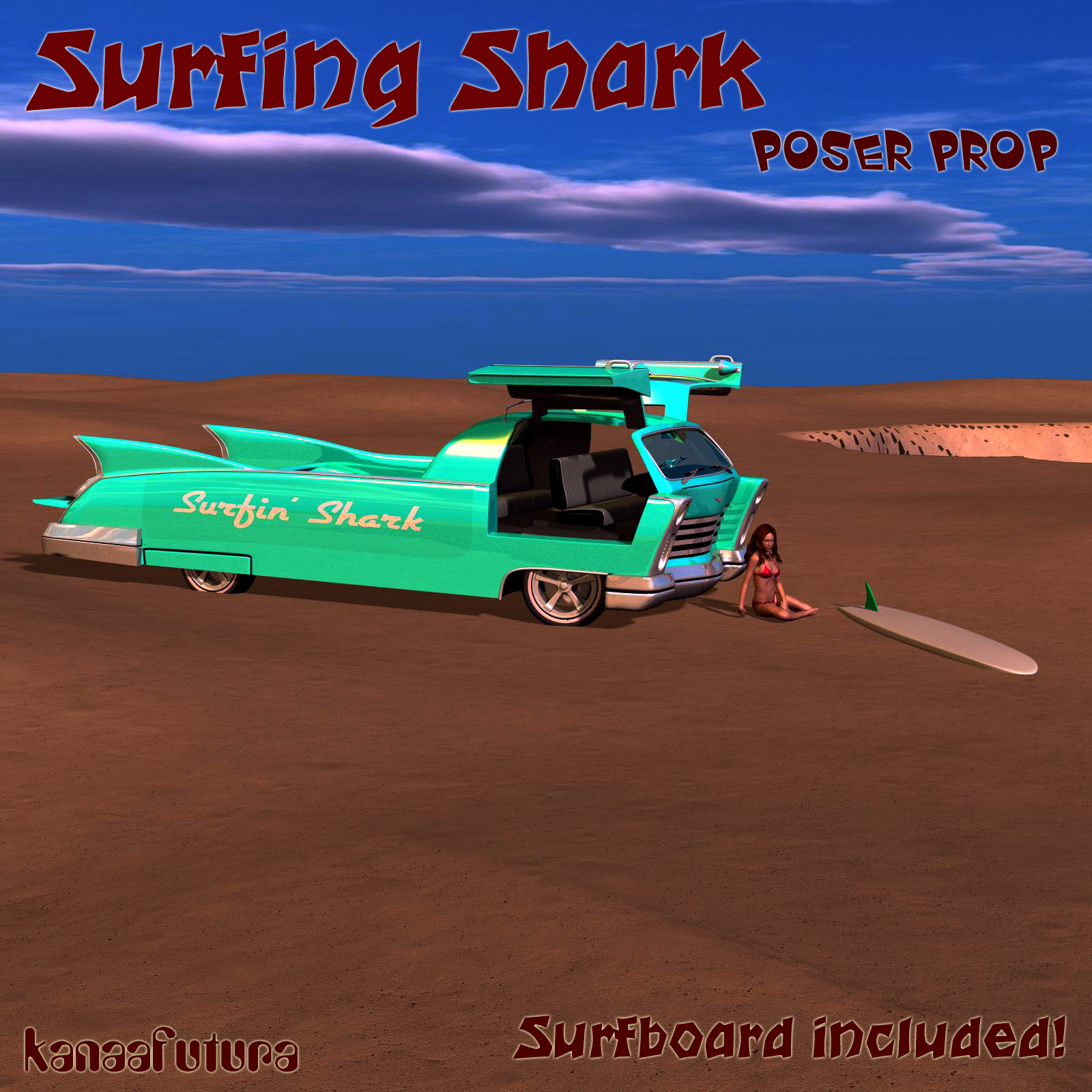 Surfing Shark poser prop by kanaa