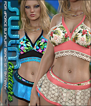 SWIM Couture for dForce SunFlirt Beach Set G8F 3D Figure Assets Sveva