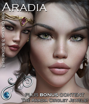 Aradia for G3 and G8 Females with Bonus Jewels 3D Figure Assets Rhiannon