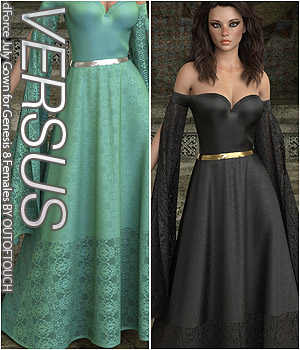 VERSUS - dForce July Gown for Genesis 8 Females 3D Figure Assets Anagord