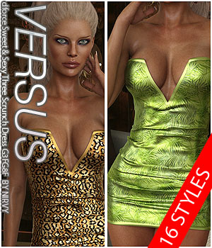 VERSUS - dforce Sweet & Sexy Three Scrunch Dress G3FG8F 3D Figure Assets Anagord