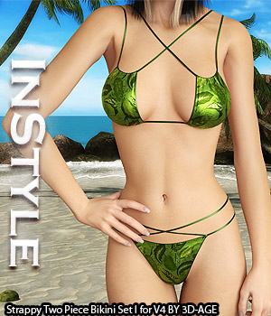 InStyle - Strappy Two Piece Bikini Set I for V4A4G4S4Elite and Pose 3D Figure Assets -Valkyrie-