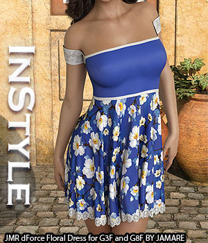 InStyle - JMR dForce Floral Dress for G3F and G8F 3D Figure Assets -Valkyrie-
