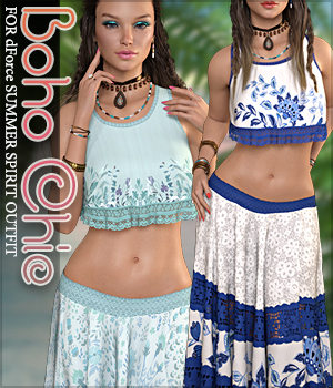 Boho Chic for dForce Summer Spirit Outfit G8F 3D Figure Assets Sveva