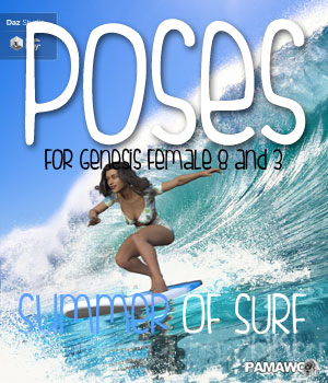 Summer Of Surf Poses DS 3D Figure Assets pamawo