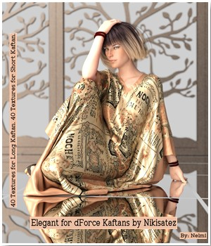 Elegant Texture Set for dForce Kaftans 3D Figure Assets nelmi