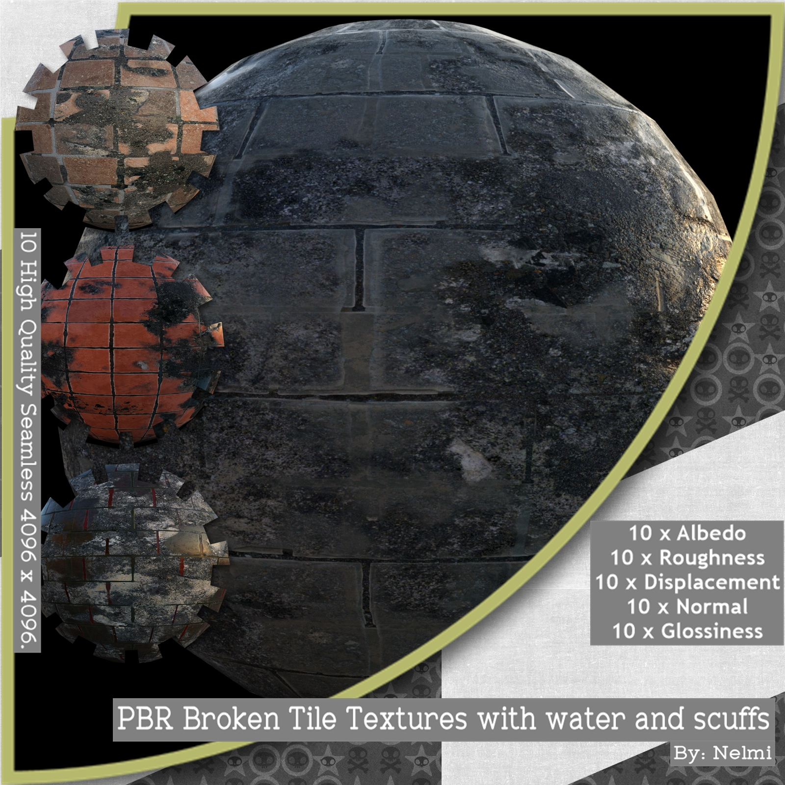 PBR Broken Tile Textures with water and scuffs