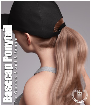 Basecap Ponytail Hair for Genesis 3 and 8 Female(s) 3D Figure Assets outoftouch