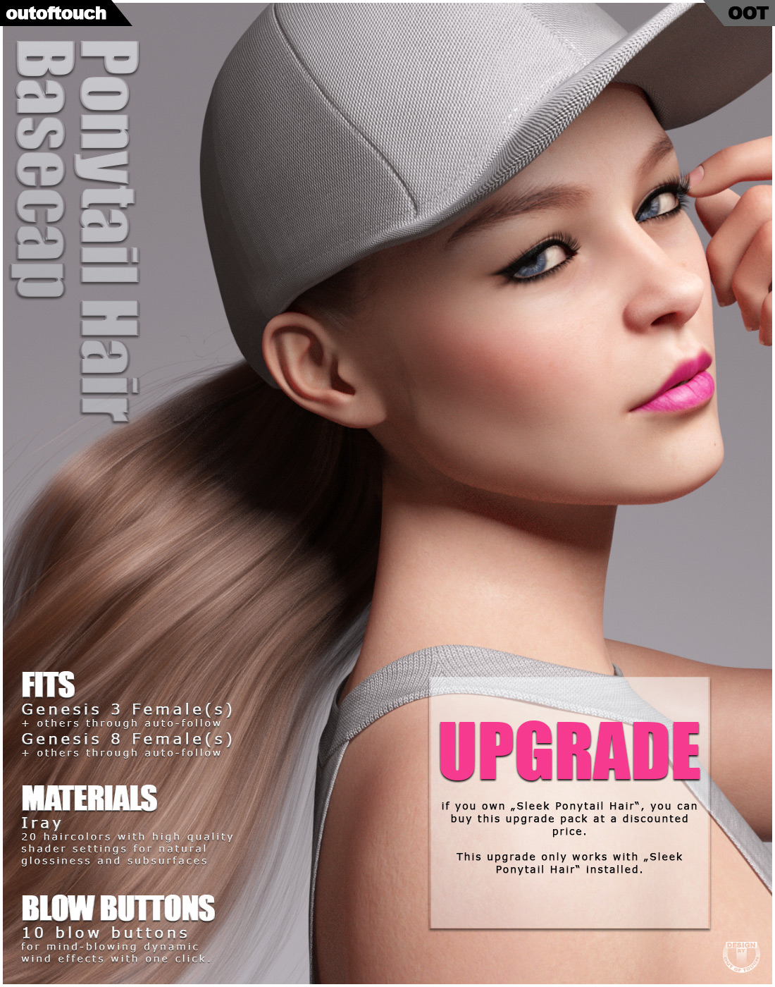 Basecap Ponytail Hair for Genesis 3 and 8 Females - UPGRADE