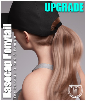 Basecap Ponytail Hair for Genesis 3 and 8 Females - UPGRADE 3D Figure Assets outoftouch