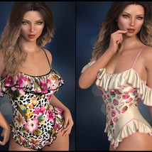 Sirens: dForce - Frilly Swimsuit for G8F image 1
